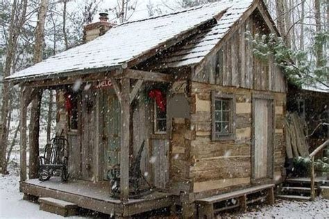 Snowy Log Cabin in the woods    Log Cabins, Cabins, Farm