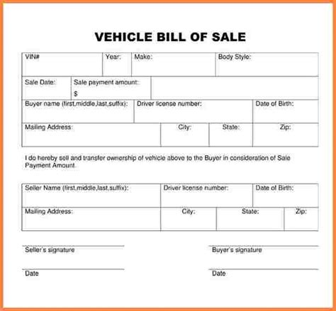 5 Automobile Bill Of Sale Template Word Letter Bills Auto Bill Of Sale Word Template