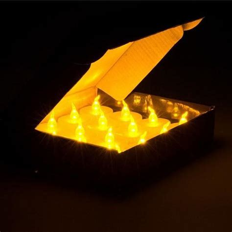small electric candle lights 24 pcs yellow mini led tea lights candle with timer glow
