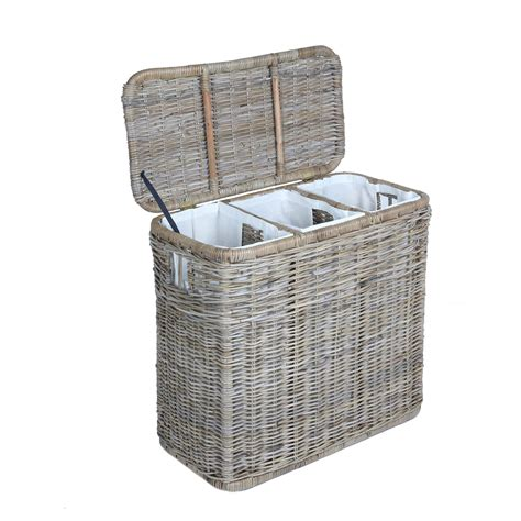 wicker laundry with lid 3 compartment wicker laundry her the basket