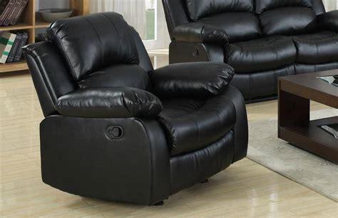 myco furniture kaden modern black bonded leather reclining