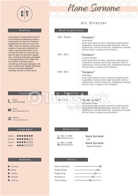 Lebenslauf Uk Bild Vector Creative Resume Template Minimalist Style Cv Infographic Elements Vector Thinkstock