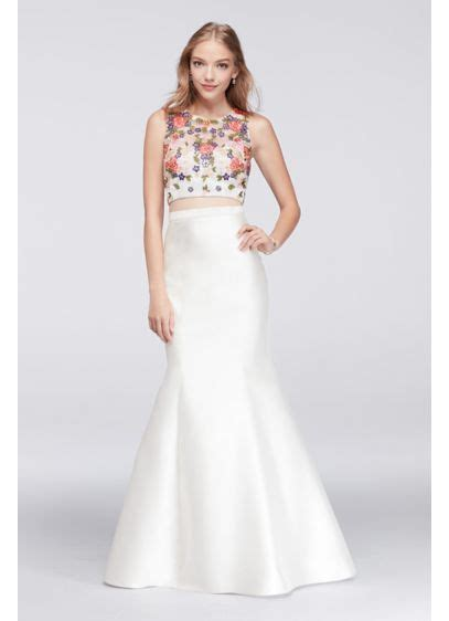 Floral Crop Top and Mermaid Skirt Two Piece Dress   David
