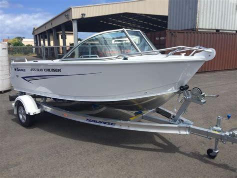 bay boat for sale no motor white new savage 455 bay cruiser aluminium boat trailer