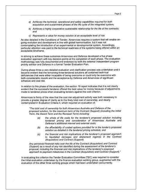 tender recommendation report template conduct of the onesky tender australian national audit