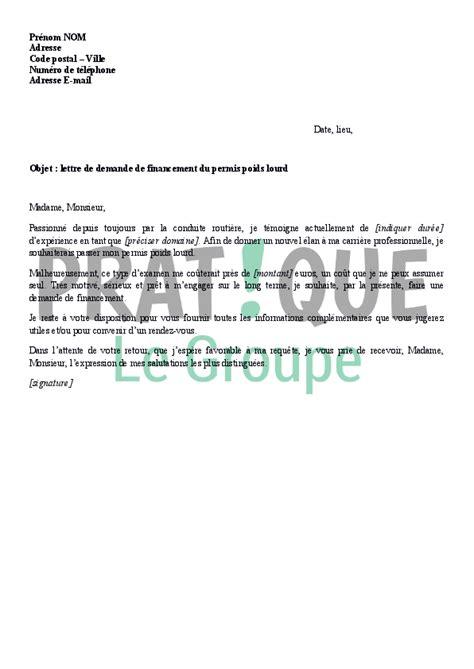 Demande De Financement Lettre Lettre De Demande De Financement Du Permis Poids Lourd Pratique Fr