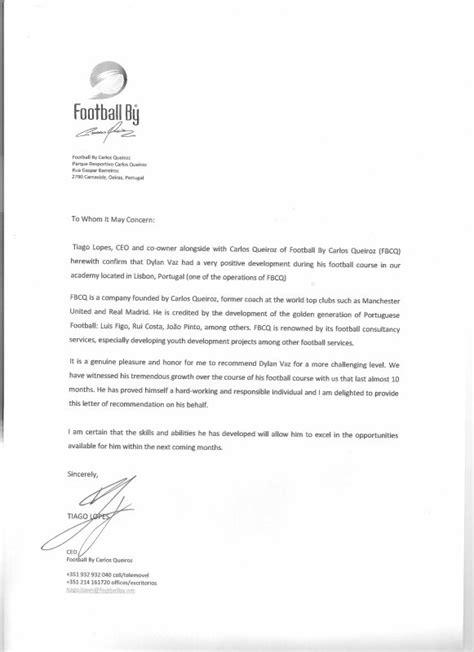 Lettre De Recommandation Football Lettre De Recommandation Du Directeur De Fcbq Manchester United Soccer School