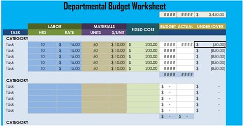 Departmental Budget Worksheet Excel Xlstemplates Department Budget Template Excel