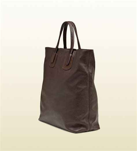 Tote Bag Brown gucci brown leather tote bag in brown lyst