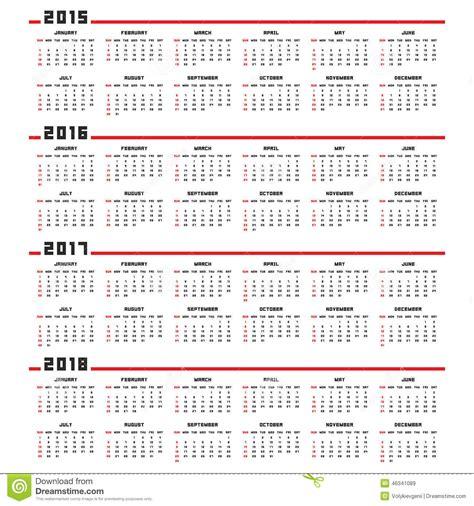 Calendrier Numéro De Semaine 2017 Calendrier 2015 2016 2017 2018 Illustration De Vecteur