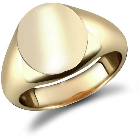 mens solid 18k yellow gold oval signet ring 002994