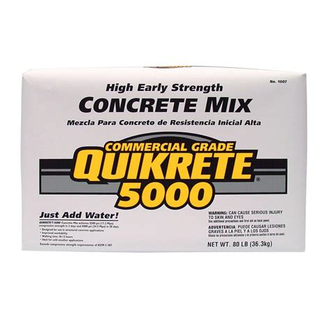 concrete bags home depot quikrete 80 lb high early strength concrete mix 100700