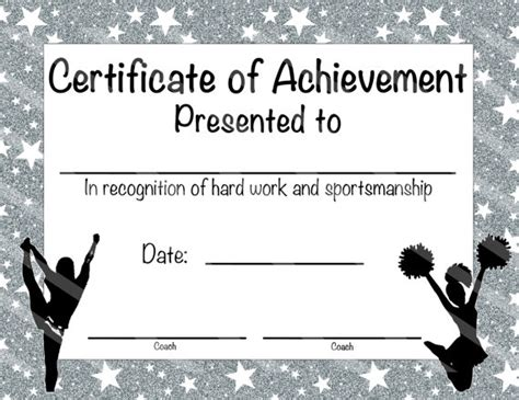 Cheerleading Certificate Cheerleading by NanasPartyPrintables