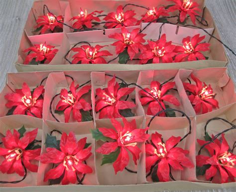 Vintage 1960 S Poinsettia Christmas Lights 2 Sets Italian Poinsettia Tree Lights