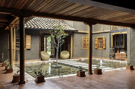 house with central courtyard central courtyard of the home with a reflective pond and