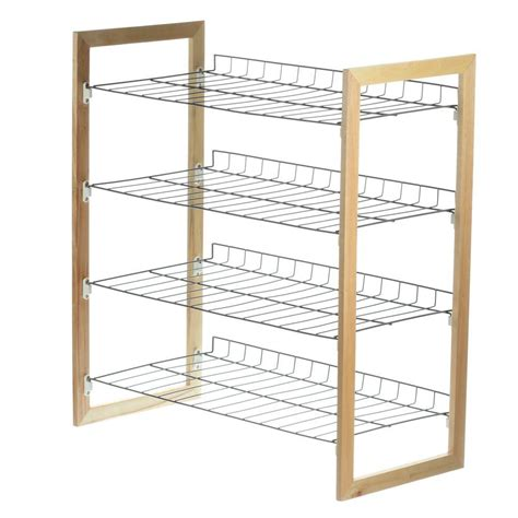 Sho Metal honey can do 4 tier 18 pair wood and metal accessory rack