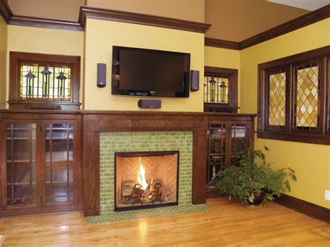 Arts & Crafts Tile Fireplace Showcase   Traditional