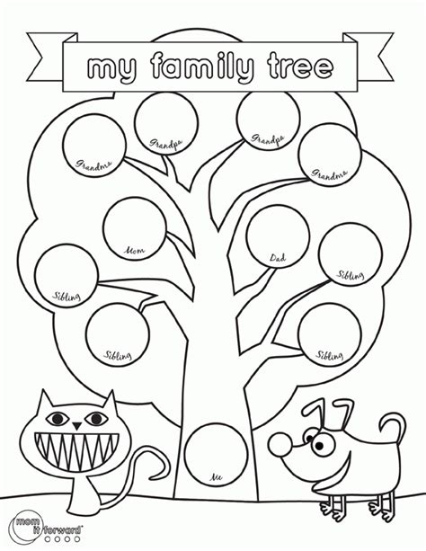 printable coloring page family tree kids printable family tree coloring home