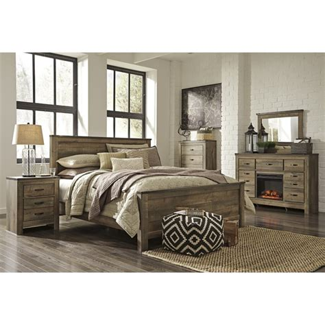 5 piece bedroom set king ashley trinell 5 piece king panel bedroom set in brown b446 32 26 46 58 56 97 92 pkg