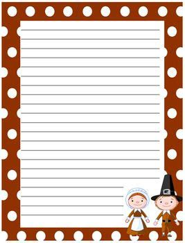 free printable thanksgiving lined paper free thanksgiving writing paper pilgrims and natives by