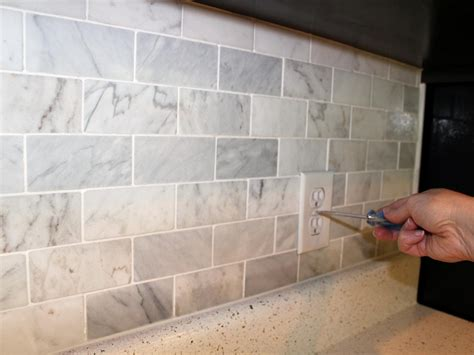 Easy To Install Backsplashes For Kitchens how to install a marble tile backsplash hgtv