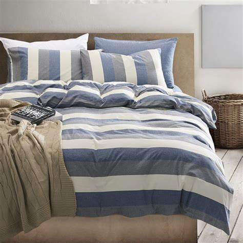 Quality Duvet Covers High Quality 100 Washed Cotton Stipe Duvet Covers