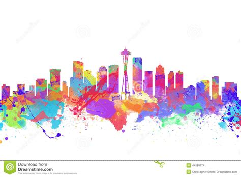 watercolor art print of the skyline of seattle stock photo