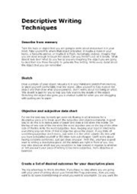 Descriptive Essay Exercises by Teaching Worksheets Descriptive Essays