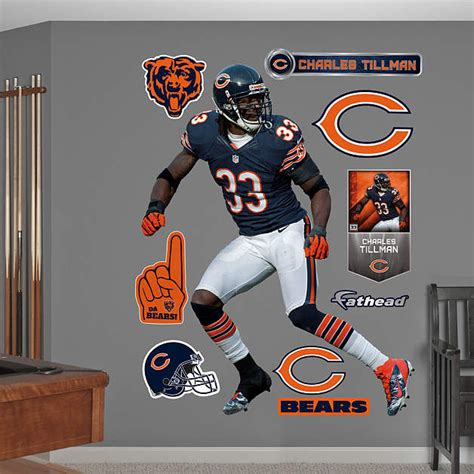 chicago bears wall stickers fathead chicago bears charles tillman wall graphic