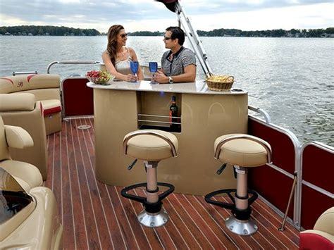 high end luxury pontoon boats luxury pontoon galley and bar google search dream