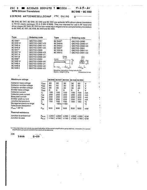 bc550 transistor equivalent bc550 datasheet pdf pinout npn silicon transistors