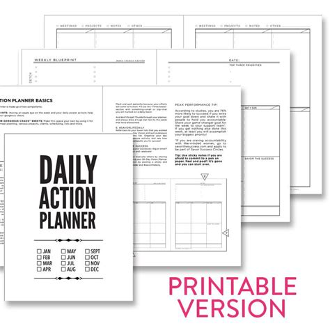 free printable daily action planner daily action planner basic printable pdf savor shop