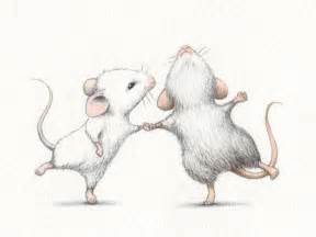 illustration dancing mouse mice couple drawing dancing mouse