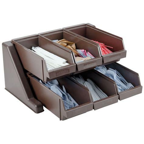 organizer bins brown self serve condiment holder organizer bin set with rack and 6 bins