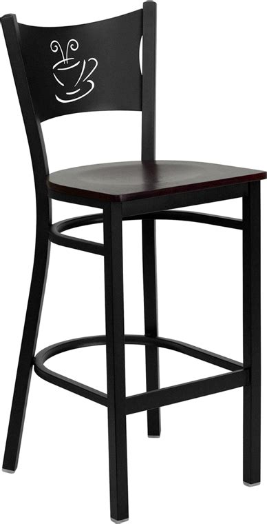 Coffee Cup Bar Stools by Coffee Cup Back Bar Stool W Mahogany Wood Seat