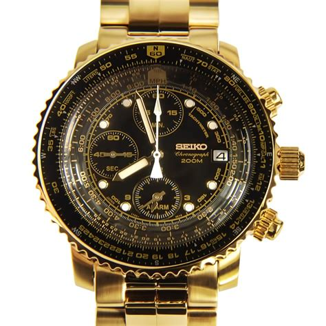 Seiko Chronograph Gold Watch SNA414 SNA414P1 SNA414P