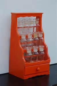 spice rack vintage vintage upcycled orange 3 tier spice rack with glass
