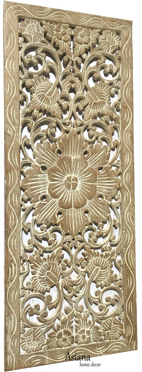 tropical wood carving wall panels floral wood wall plaque brown 35 5 quot x13 5 quot wall sculptures