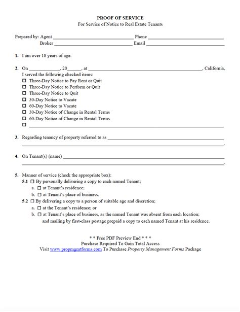 Proof Of Service Letter Property Management Forms