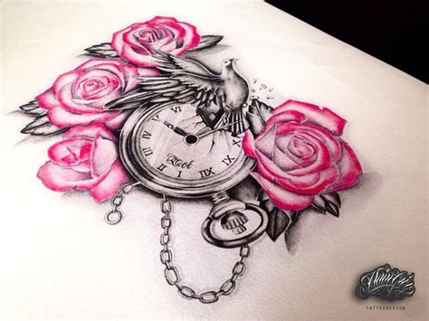 black and pink rose tattoo draw ideas flower time color