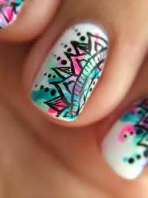 blue nail art nails pink purple image 4368737 by