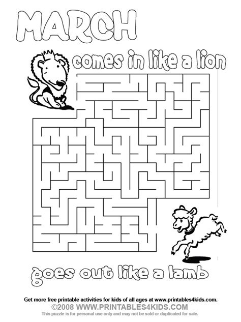 printable science maze march lion and lamb maze printables for kids free word