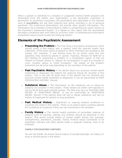 psychiatrist report template how to transcribe a psychiatric assessment report