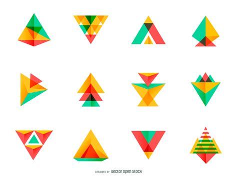 triangle pattern logo bright triangle logo set vector download