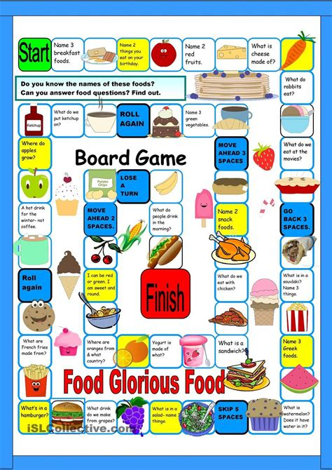printable games for esl board game food free esl worksheets creative e l t