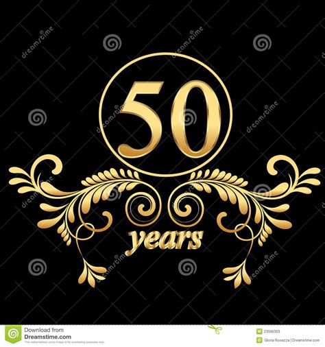 Gold 50 years stock vector. Image of congratulations