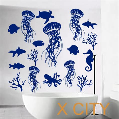 fish wall stickers bathroom fish wall decal sea shell art jellyfish vinyl bathroom