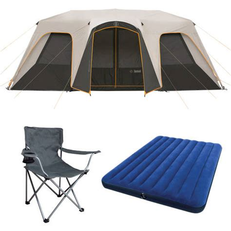 ozark trail 12 person instant cabin tent with screen room ozark trail 12 person instant cabin tent with 2 bonus airbeds and 2 chairs value bundle