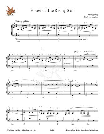 the animals house of the rising sun piano sheet music house of the rising sun piano sheet music