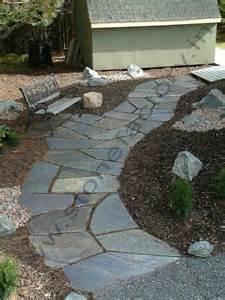 slate walkway and patio backyard